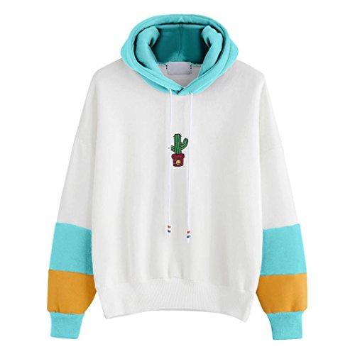 Damen Langarm , Frashing Womens Long Sleeve Cactus Printed Hoodie Sweatshirt Kapuzenpulli Tops Bluse (XL, Himmelblau) (Damen-t-shirts Cactus)