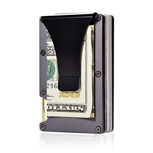 Black Metal, Mini - (E-CHENG Carbon Fiber Men Mini Wallet, Slim Wallet Credit Card Holder RFID Blocking Anti Scan Metal Cash Clip (Black))