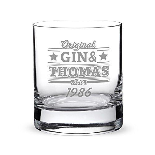 Ginglas mit Gravur – Klassisch – Personalisiert mit [NAMEN] und [JAHRESZAHL] – AMAVEL - Tumbler Ginglas – Geschenkidee für Männer – Füllmenge: 320 ml