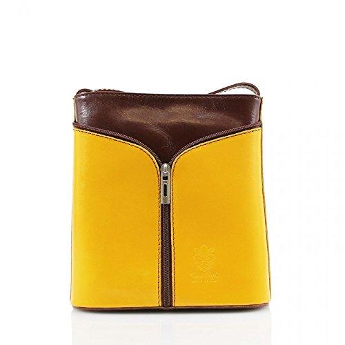 LeahWard® Damen Mode Essener KleinQualität Italian Leder Umhängetasche CWV0026 Gelb H20cm x W18cm x D7cm