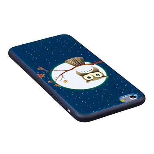 Cover iPhone 6 Plus, Custodia iPhone 6S Plus, Case in Silicone Nero Morbido TPU, Surakey Protettiva Bumper Back Cover Gomma Soft Sottile e Flessibile Custodia Gel Rubber Leggero Antiscivolo Antiurto P Piccolo Gufo