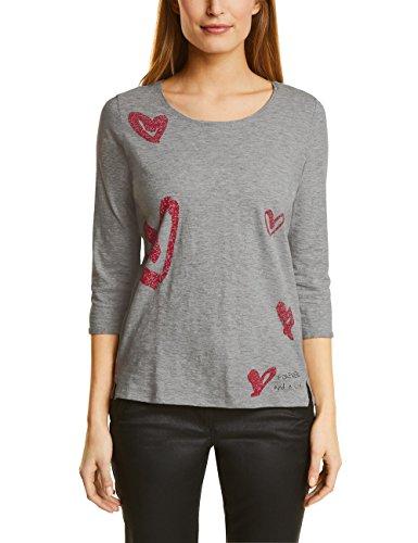 Cecil Damen Langarmshirt 311781, Grau (1554 Silver Grey Melange 20160), Medium (Schnitt Leben T-shirt Damen)