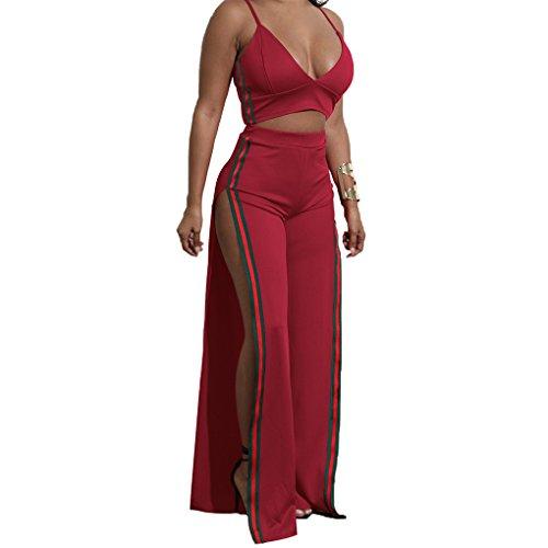 Minzhi Vestito lungo da donna in due pezzi divisi in due pezzi vino rosso