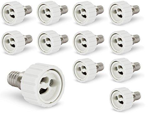 Pack de 12–Adaptateur E14vers GU10pour ampoules LED–T300250V 2A
