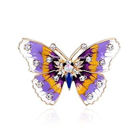 SANWOOD® Multicolor Crystal Hollow Butterfly Brooch broaches Pin Wedding Bridal