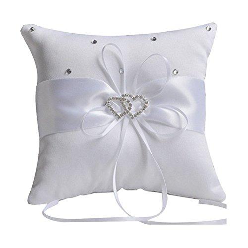 Hosaire Hochzeit Ringkissen Elegant Schmetterling Heart-Form Weiss Handwerk Ringe Schmuck Kissen Rings Box,15 x 15 cm