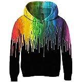 Funnycokid Jungs Pullover 3D Trippy Drucken Bunte Rauch Vlies Hoodies Pullover Große Taschen Halloween Große Taschen Sweatshirt10-12 Jahre