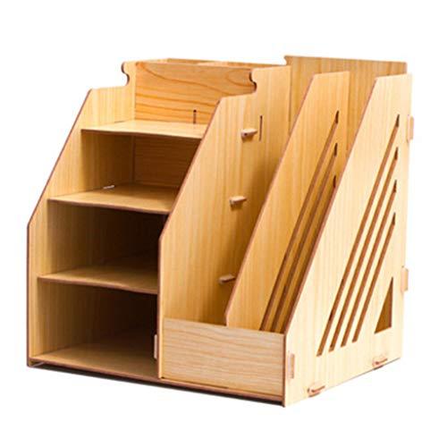 Schreibtisch Organizer Briefablage Fächern, Büro Multifunktionale Lagerung Holz Aufrecht Bücherregal Stapelbar Sortiere für Ordner Schreibwaren-Weißer Ahorn -