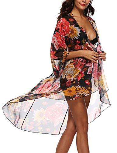 Kistore Damen-Badeanzug, 3/4-Ärmel, Blumendruck, lang, offen - schwarz - Einheitsgröße (Ups Cover Badeanzug Junior)