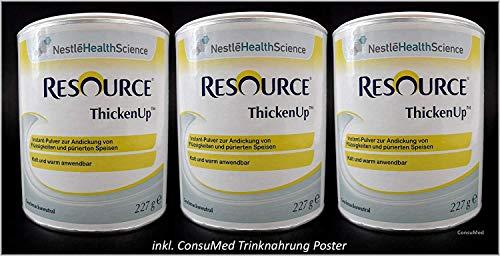 3x 227g ThickenUp von Nestle Health Science Andickungsmittel - Andickungspulver - im exclusiven ConsuMed Bundle mit Nahrungergänzungsmittel Übersicht im DIN A3 Posterformat