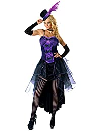 Forever Young Purple Burlesque Moulin Rouge Fancy Dress Can Can Girl Costume Outfit + Hat & Glove