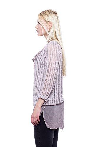 Abbino Thea 2356 Chemisiers Blouses Tops Femmes Filles - Fabriqué en Italie - 6 Couleurs - Été Automne Hiver Plaine Chemises Manches Longues Elegante Vintage Classique Sexy - Taille Unique (38-42) Rose