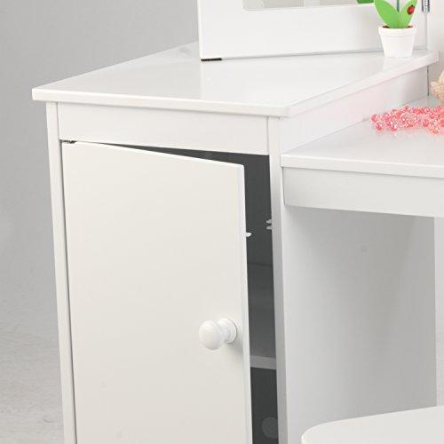 KidKraft 13018 Deluxe Frisier-/Schminktisch & Stuhl aus Holz für Kinder mit Spiegel und Stauraum - Kinderzimmer Möbel - 8