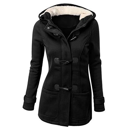 Prima05Sally Super warme Klassische Mantel-Kapuzenjacke Langer Abschnitt Wollmischung Outwear mit Leder Ox Horn Form Schnalle für Frauen - Kapuzen Wollmischung Mantel