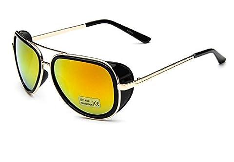 (M1-Rahmen Goldenes rotes Lens) Sonnenbrille Modell Steampunk Iron Man Tony Stark Retro Herren Damen (Tv-werbung Kostüme)