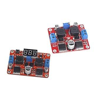 F Fityle 2 Pcs LM2577S + LM2596S Dual-Chip-Modul, DC-Step-Up-Down-Modul Spannungsversorgungsmodul (Digitalanzeige + Keine Digitalanzeige)