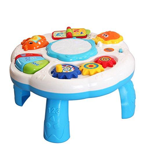 TOYMYTOY Bébé enfants Table musicale prématernelle au début les centres éducatifs jouet développement activité musique Learing Table pour les tout-petits (blanc)