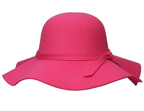 Smile YKK Chapeau Bord Large Femme Feutre Capeline Mariage Soirée Elégant Rose Rouge