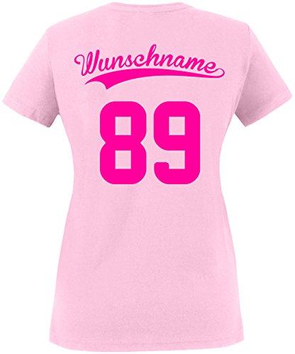 EZYshirt® Wunschnamen und Wunschnummer Brannon Pärchen V-Neck T-Shirt Damen/Rosa/Neonpink
