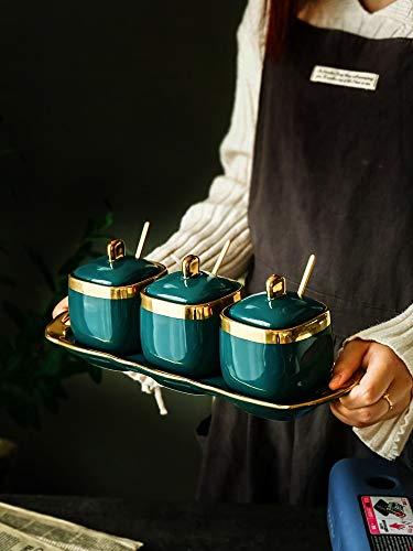hnxsy Nordic Light Luxury Emerald Ceramic Sugar Can Salt Tank Seasoning Tank Seasoning Bottle Seasoning Bowl Four Pieces Set Flower Tea Tank Flower Sugar Bowl