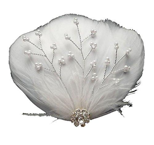 Jelinda Damen Weiß Feather Braut Hochzeit Haarspange Fascinator Zubehör