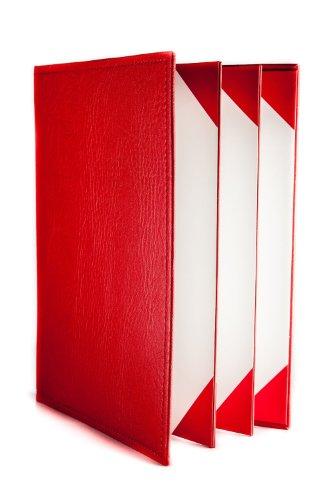 Speisekarten in Kunstleder (10er Pack) - A4 - 6 Einschübe - Rot