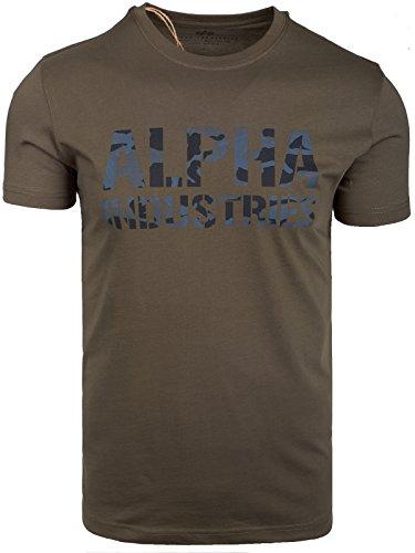 Alpha Industries Herren Oberteile/T-Shirt Camo Print Dark Olive