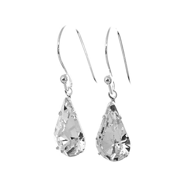 6b4040df2 925 Sterling Silver drop earrings for women made with sparkling White  Diamond teardrop crystal from Swarovski®. London ...