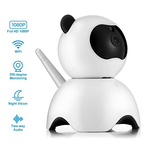 Haiyemao HD Kamera 100PD6 Intelligente IP-Kamera Nette Panda-förmige Webcam für Indoor Home Security Home Security Überwachungskamera Vintage Ledergürtel für Fotografen
