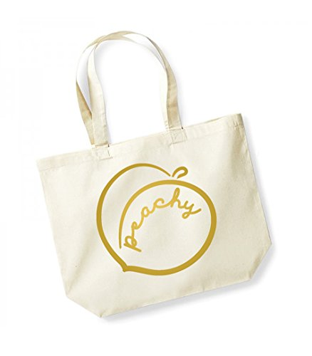 Peachy - Large Canvas Fun Slogan Tote Bag Natural/Gold