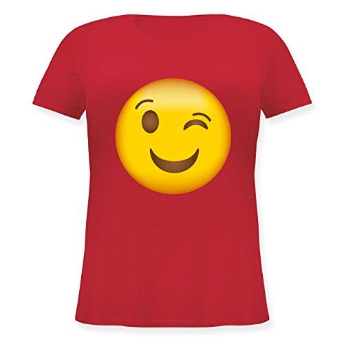 Comic Shirts - Zwinker Emoji - XL (50/52) - Rot - JHK601 - Lockeres Damen-Shirt in großen Größen mit Rundhalsausschnitt