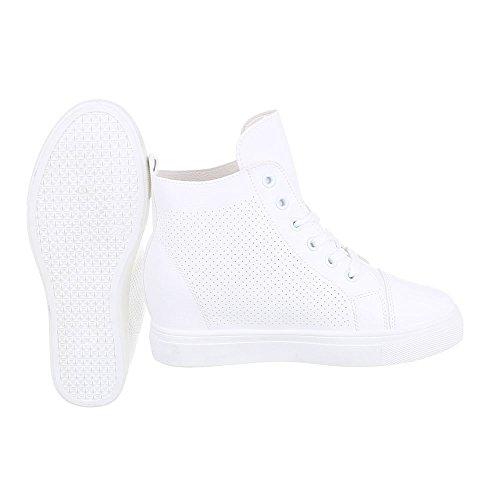 High-Top Sneaker Damenschuhe High-Top Keilabsatz/ Wedge Keilabsatz Schnürsenkel Ital-Design Freizeitschuhe Weiß