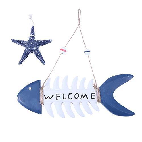 Amosfun 2 Piezas Señal de Bienvenida de Peces de Madera náutica Welcome...