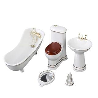 SODIAL(R) 1/12 Children Doll House Bathroom Furniture Set Bath