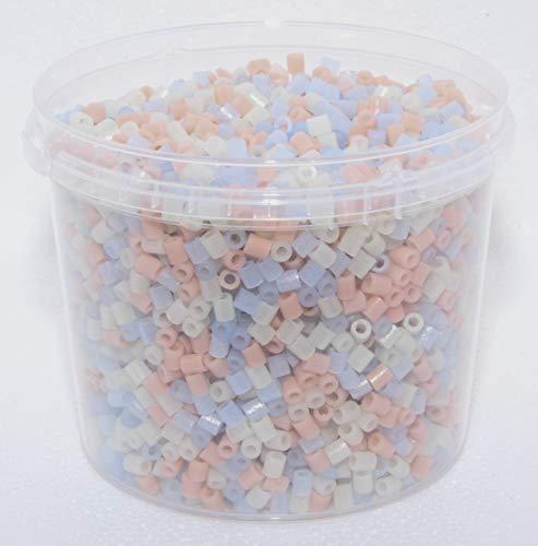 Hama MIDI Perlen 5000 Perlen in Dose Leuchtfarben 55,56,57-Mix + 2 Gratis Stiftplatten: Quadrat klein , Sechseck klein