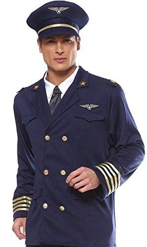 Smartes Herren Damen Piloten-Kostüm 3 Teile Grösse L 52 / 54 ca Hut Mütze Jacke Hemd Flieger- Piloten-Mütze Anzug Flugkapitän Kapitän