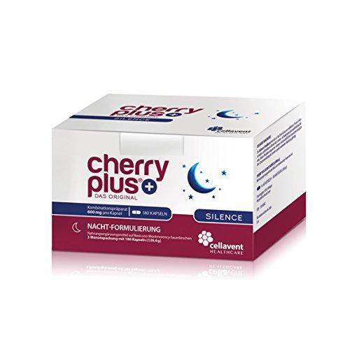 Cherry PLUS Silence: Nachtkombi aus der Montmorency Sauerkirsche mit Melatonin, Schlafbeere (Ashwagandha) & 5 HTP von Cellavent Healthcare - 180 vegane Kapseln (Melatonin Plus Vitamin)