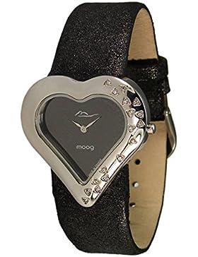 Moog Paris Heart Damen Uhr mit Schwarzem Zifferblatt, Swarovski Elements & Schwarzem Armband aus echtem Leder...
