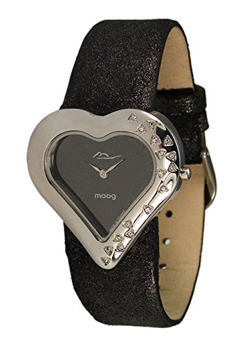 Moog Paris Heart Women's Watch with Black Dial, Black Genuine Leather Strap & Swarovski Elements - M44332-001
