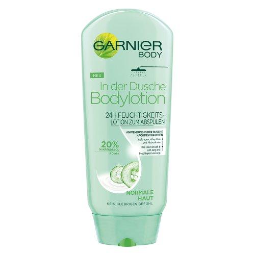 Garnier in der Dusche Bodylotion, 24h Feuchtigkeitscreme, zur Anwendung in der Dusche, angereichert mit 20% nährendem Öl und Gurke, 250 ml
