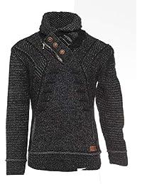 Raff Taff Herren Grobstrick Pullover Klassissch Rollkragenpullover Casual  Stehkragen Kuschelig warm Sweater 29b1778016