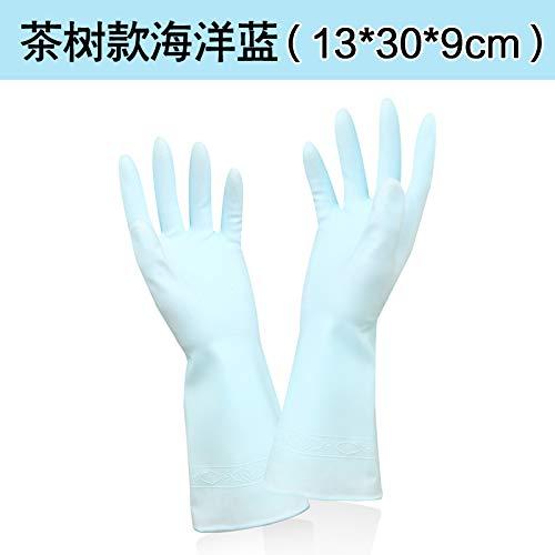 Dauerhafte verdickende Hautpflege der Küche, die Hausarbeithandschuh-Teebaumöl-Abwaschhandschuhwäsche-Kleidungwasserdichte Handschuhe, M,Teebaum Marineblau säubert