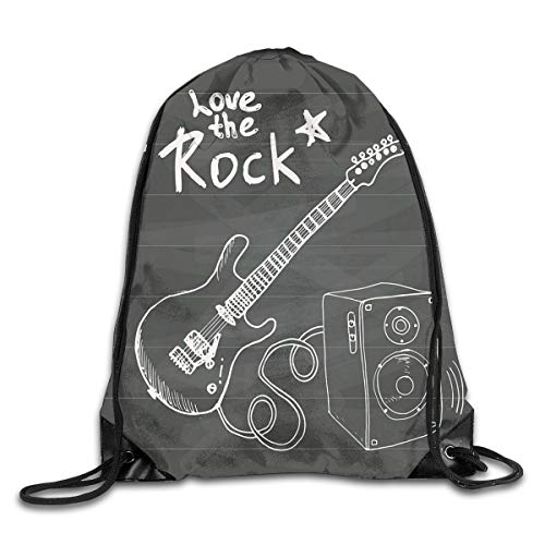 HLKPE Drawstring Backpacks Bags Daypacks,Love The Rock Music Themed Sketch Art Sound Box and Text On Chalkboard,5 Liter Capacity Adjustable for Sport Gym Traveling Lime Green Music Box
