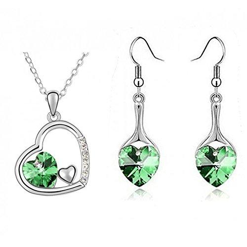 Parure coeur boucles d'oreilles coeur pendantes cristaux swarovski elements plaqué or blanc Vert