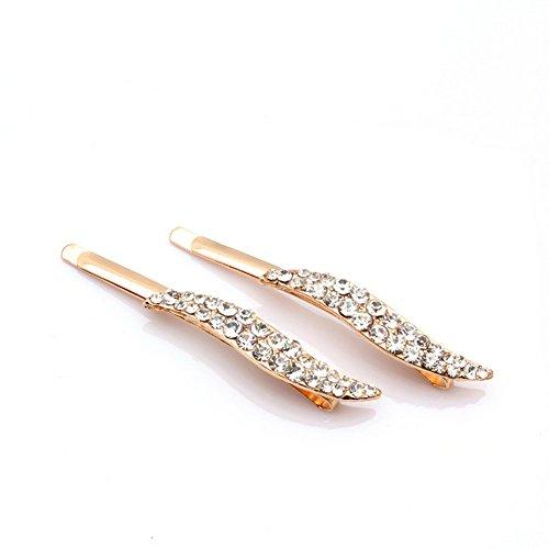 Five Season 2PCS Barrettes a Cheveux Clips Bijoux Simplicite Diamante Forme Feuille pour Femme 6,4*1cm Blanc