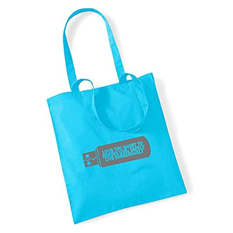 USB Lifes Too Short to Remove USB Safely Tote Shopping Bag Twin Handles TS470, Surf Blue