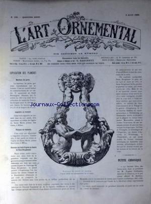 ART ORNEMENTAL (L') [No 166] du 03/04/1886 - MARTEAU DE PORTE - TRAVAIL ITALIEN - AIGUIERE EN VERMEIL - EGLISE SANTA MARIA PRESSO SAN CELSO A MILAN - PLATEAU EN VERMEIL - GRAVURE SUR BOIS D'APRES UN DESSIN DE HANS BURGKMAIR.