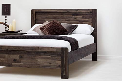 Chester Handcrafted Solid Wooden Bed Frame, Country Farmhouse Style - Rustic Java or Teak Double or King Size - By Sleep Design (Double, Teak Acacia)