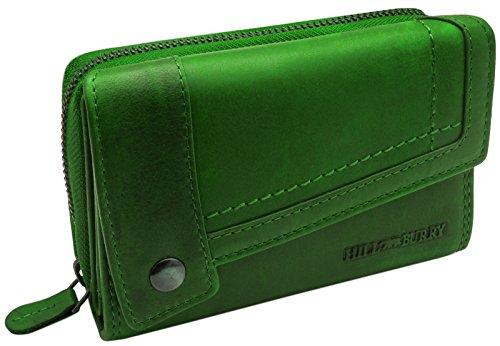 Hill Burry Echt-Leder Portemonnaie | XXL & Kompakt - Vintage Geldbörse aus hochwertigen weichem Voll-Leder | Damen / Frauen - Herren / Männer Brieftasche | Portmonee im Used Look - Geldbeutel (Grün)
