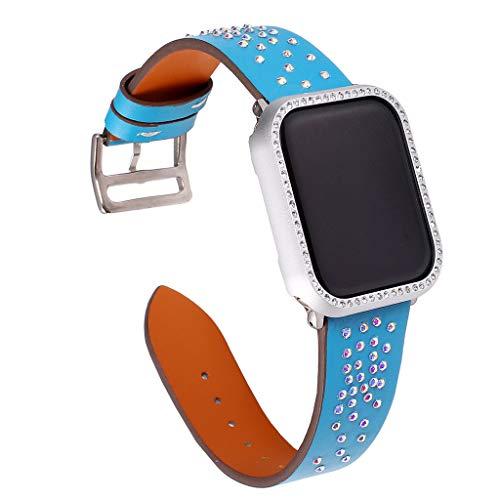 175 Serie (Momola Uhrenarmband für Apple Watch 4 Series Leder Ersatz Armband + Rahmen 44mm,Verstellbar Armbänder mit Metallschnalle für Männer Frauen 175mm (G))